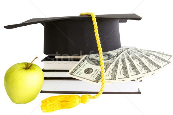 Geld boeken school onderwijs appel studie Stockfoto © manaemedia