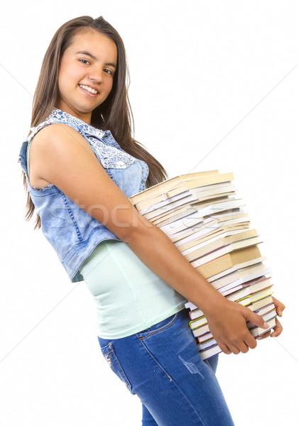 Jonge student meisje boeken Stockfoto © manaemedia