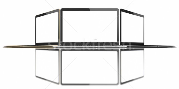 Gold, Silver and Space Gray Laptop with blank white screen Stock photo © manaemedia