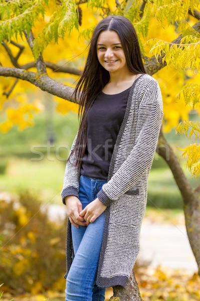 Portret mooie tienermeisje najaar park glimlachend Stockfoto © manaemedia