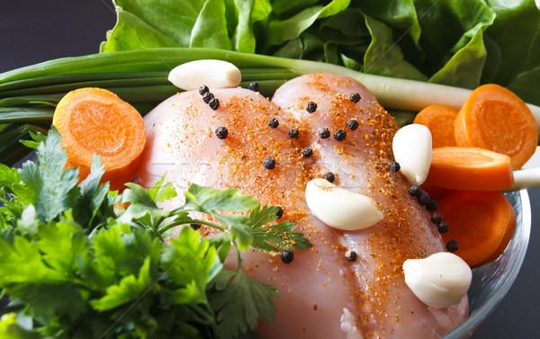 Ruw kip groenten kipfilet klaar achtergrond Stockfoto © manaemedia