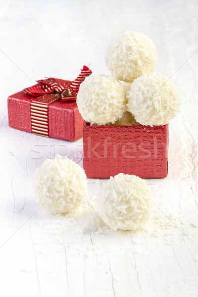 Coconut snowball truffles in the gift box Stock photo © manaemedia