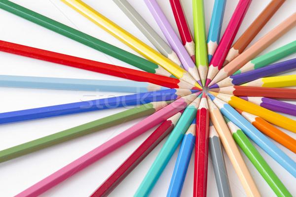 Kleur potloden cirkel witte veel verschillend Stockfoto © manaemedia