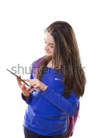 Gelukkig teen meisjes digitale tablet witte Stockfoto © manaemedia