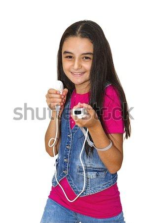 Tienermeisje spelen video games video game geïsoleerd witte Stockfoto © manaemedia