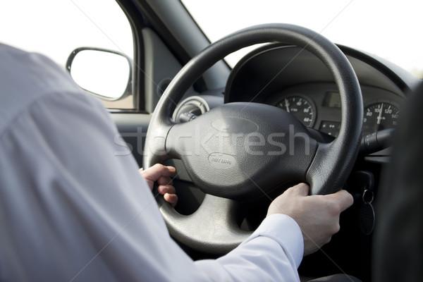 Man rijden auto glas snelheid Stockfoto © manaemedia