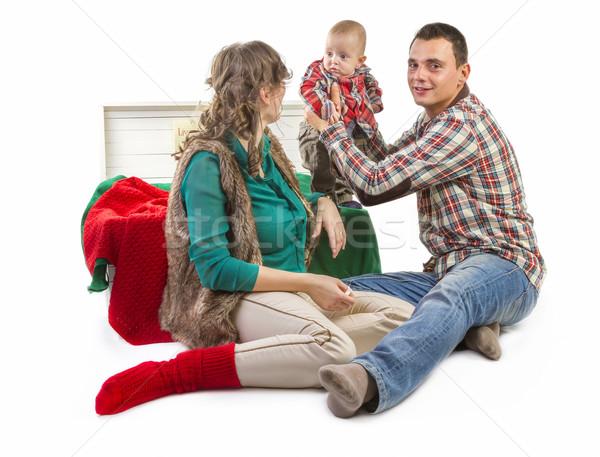 Gelukkig gezin studio baby jongen oude vak Stockfoto © manaemedia