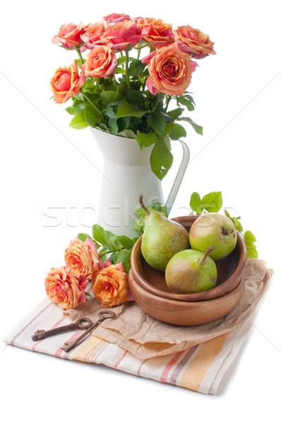 アレンジメント バラ 梨 オレンジ 白 背景 ストックフォト © manera