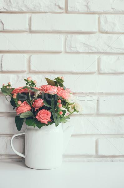 Сток-фото: букет · розовый · роз · Vintage · эмаль · кофе