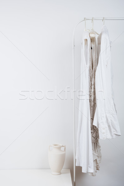 bedroom white interior, clothes on the hanger  Stock photo © manera