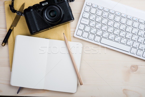 Stock photo: Photographers bloggers workplace tabletop, styled hipster's work
