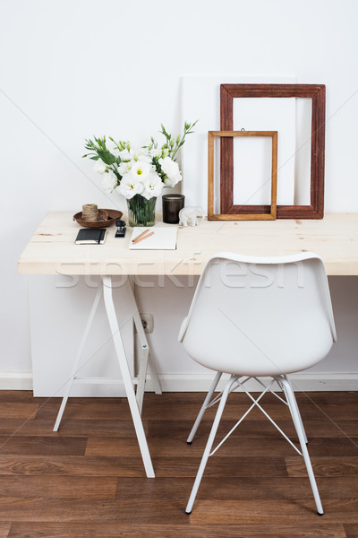Stylish scandinavian interior design, white workspace Stock photo © manera