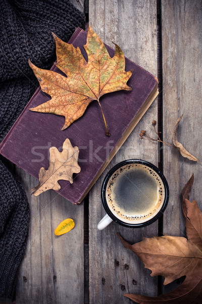 Oud boek gebreid trui koffiemok vintage Stockfoto © manera