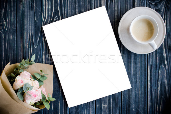 styled background with coffee, smartphote, roses and magazine co Stock photo © manera
