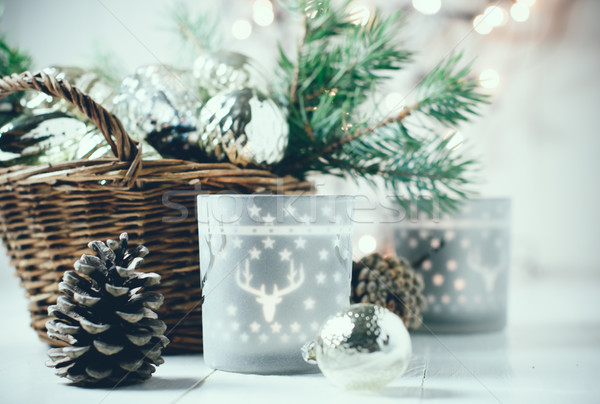 Stockfoto: Vintage · christmas · oude · decoraties · mand