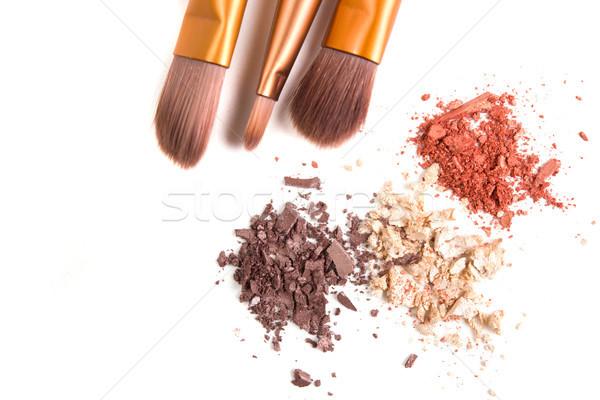 Makeup brushes set and loose eyeshadows isolated Stock photo © manera