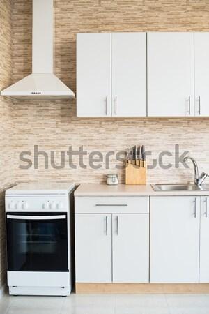 ストックフォト: インテリア · 新しい · 明るい · 白 · ホーム · キッチンのインテリア