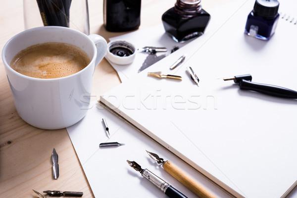 Kâğıt mürekkep kaligrafi kalemler atölye ayrıntılar Stok fotoğraf © manera