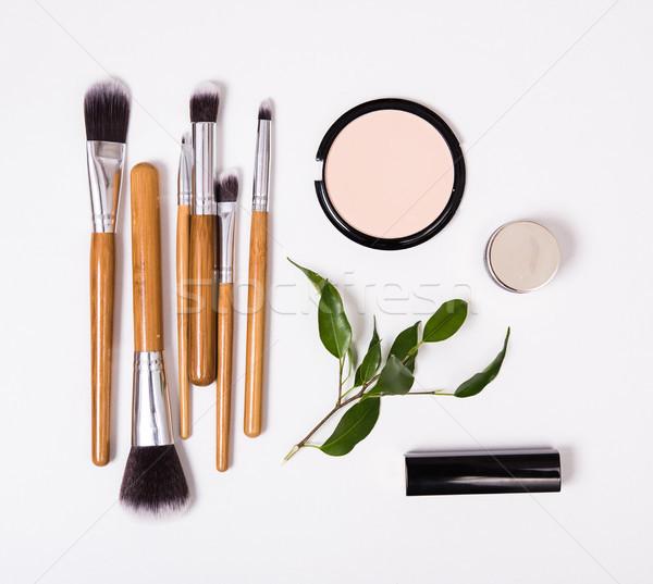Professional makeup tools, flatlay on white background Stock photo © manera