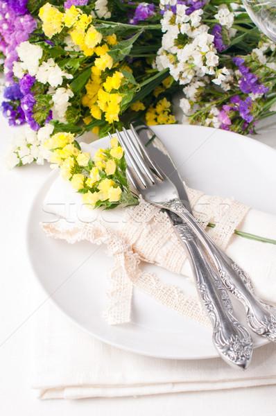 таблице украшение свежие цветы весны Сток-фото © manera