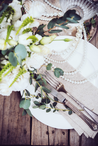 Vintage mariage table arts de la table fleurs Photo stock © manera
