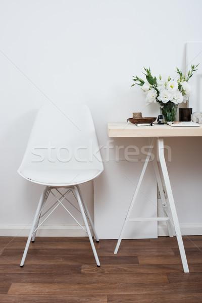 Elegáns belsőépítészet fehér munkaterület asztal szék Stock fotó © manera