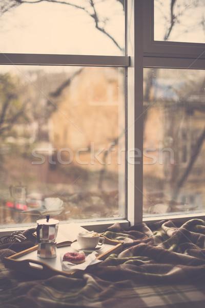 Gemütlich home Winter Kaffee Decke Hipster Stock foto © manera