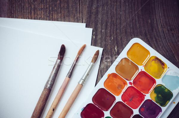 Watercolor paints Stock photo © manera