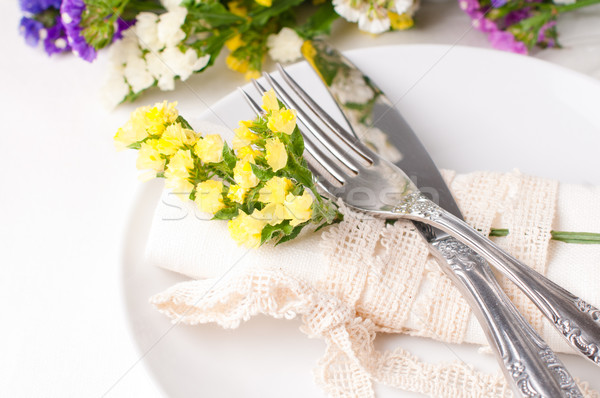 Stock fotó: ünnepi · asztal · dekoráció · friss · virágok · tavasz