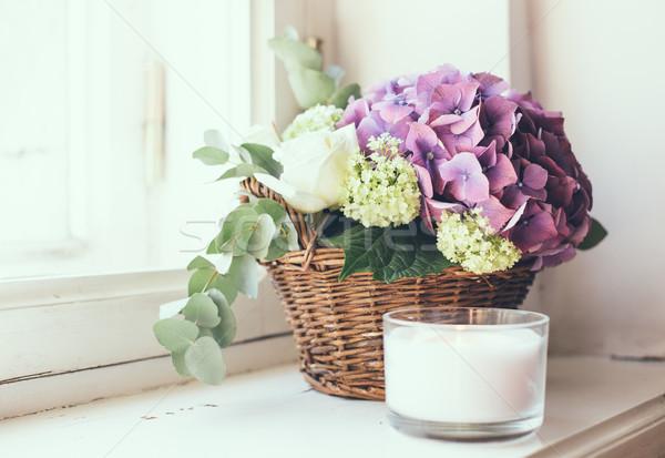 Boeket vers bloemen groot paars witte Stockfoto © manera