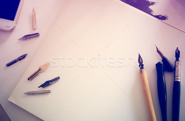 Stock fotó: Papír · tinta · kalligráfia · tollak · műhely · részletek