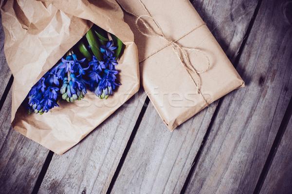Сток-фото: гиацинт · Vintage · весенние · цветы · подарок · синий