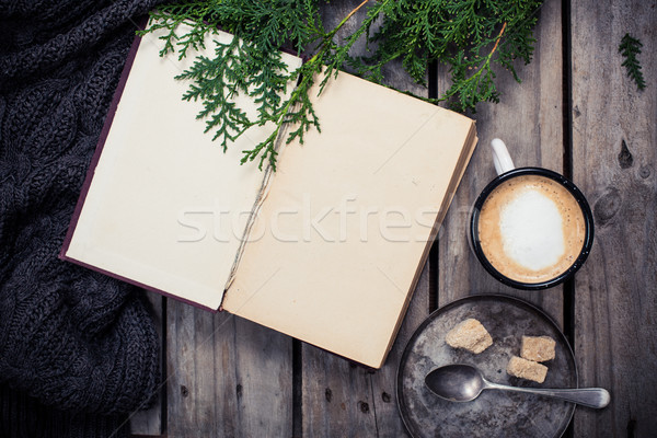 branch of spruce, warm sweater and cup  coffee with sugar Stock photo © manera