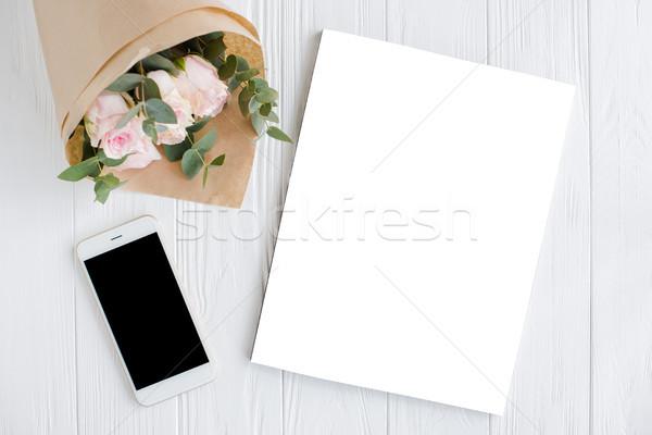 Nőies rózsák magazin borító romantikus vázlat Stock fotó © manera