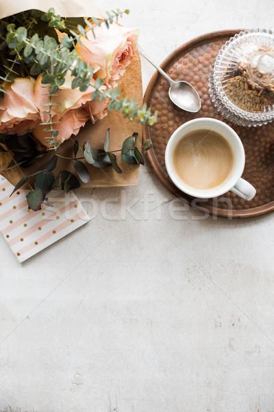 フェミニン ホームオフィス 花 コーヒー 帳 白 ストックフォト © manera