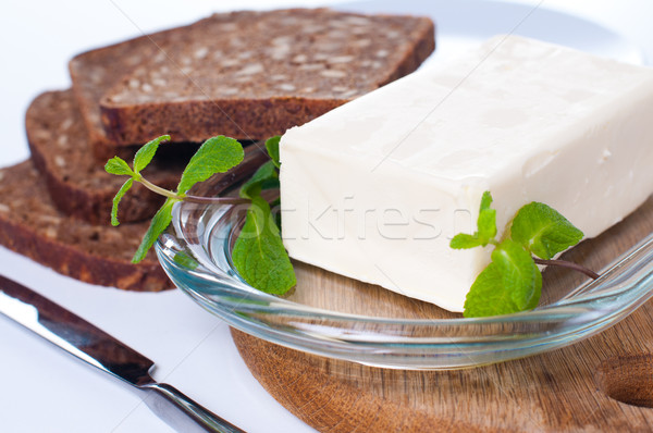 масло хлеб стекла пластина белый фон Сток-фото © manera