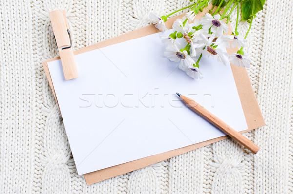 Karton kart çiçekler boş zarf kâğıt Stok fotoğraf © manera