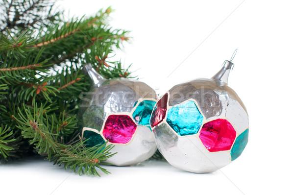 Dekorationen Fichte Niederlassungen Jahrgang Weihnachten weiß Stock foto © manera