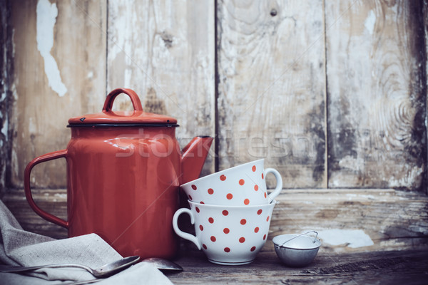 Сток-фото: деревенский · Vintage · кухне · красный