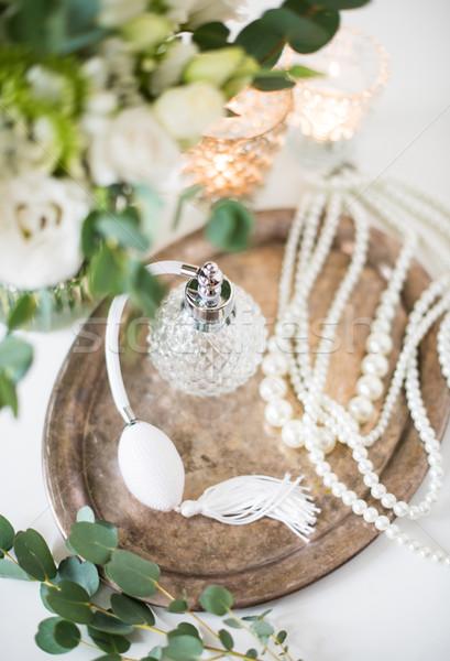 Blanche mariage parfum perle perles Photo stock © manera