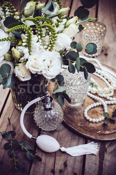 Bağbozumu düğün parfüm inci boncuk Stok fotoğraf © manera