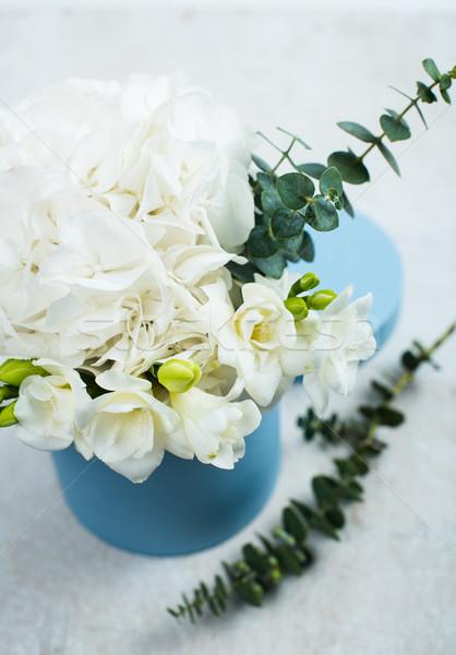 Ramo blanco cuadro azul flores verano Foto stock © manera