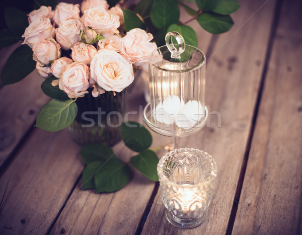 Elegant vintage wedding table decoration with roses and candles Stock photo © manera