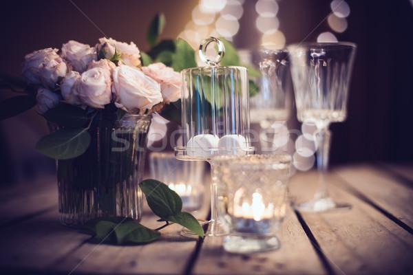 Stock fotó: Elegáns · klasszikus · esküvő · asztal · dekoráció · rózsák