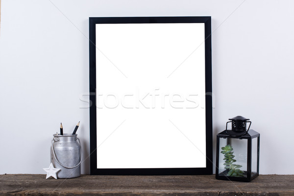 Scandinavian style empty photo frame mock up. Minimal home decor Stock photo © manera