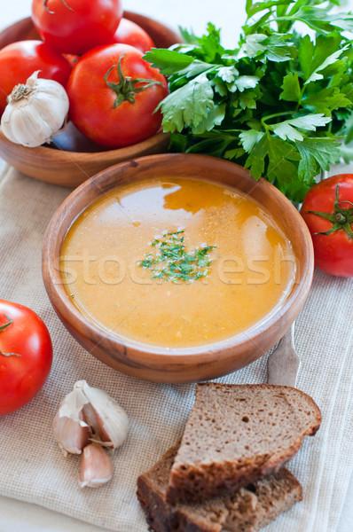 Wegetariański zupa jarzynowa puchar chleba warzyw Zdjęcia stock © manera