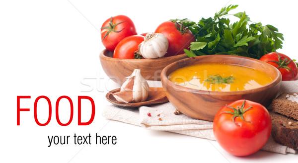 Vegetarisch eten geïsoleerd sjabloon klaar soep groenten Stockfoto © manera