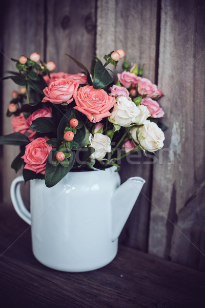 Bouquet roses vintage café pot rose Photo stock © manera