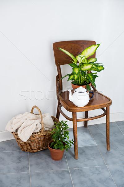 装飾 夏 バルコニー ヴィンテージ エナメル 茶 ストックフォト © manera