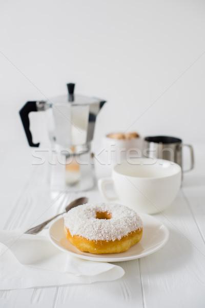 Stockfoto: Elegante · witte · ontbijt · tabel · koffiekopje · donut